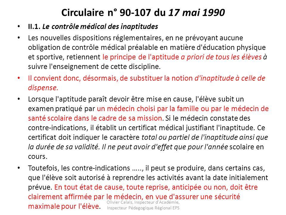 Circulaire n° 90-107 du 17 mai 1990 II.1.