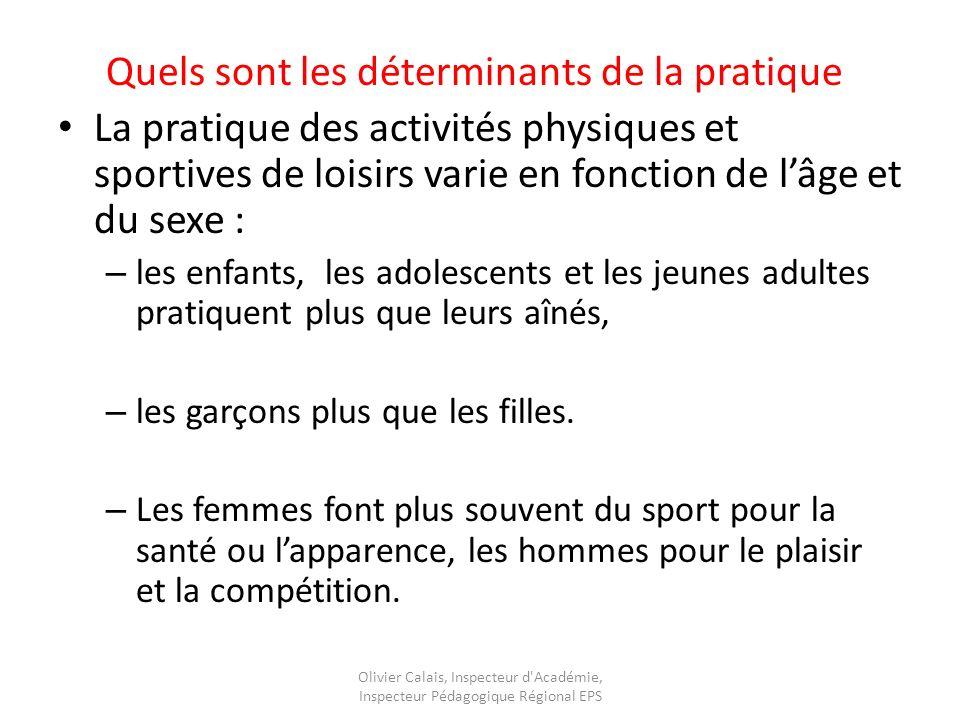 Quels sont les déterminants de la pratique La pratique des activités physiques et sportives de loisirs varie en fonction de lâge et du sexe : – les enfants, les adolescents et les jeunes adultes pratiquent plus que leurs aînés, – les garçons plus que les filles.