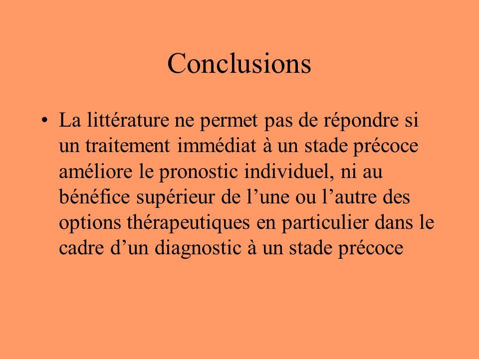 Conclusions La littérature ne permet pas de répondre si un traitement immédiat à un stade précoce améliore le pronostic individuel, ni au bénéfice supérieur de lune ou lautre des options thérapeutiques en particulier dans le cadre dun diagnostic à un stade précoce