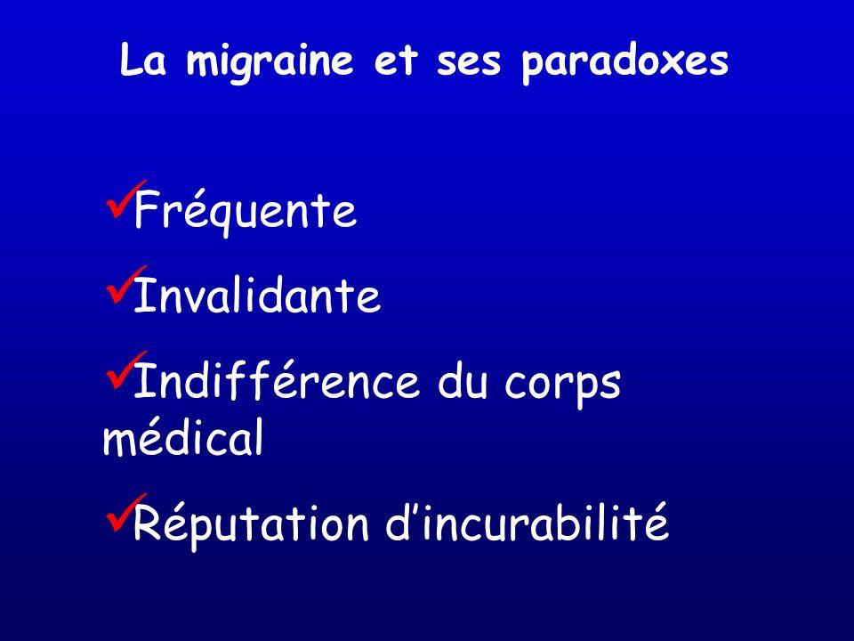 La migraine et ses paradoxes Fréquente Invalidante Indifférence du corps médical Réputation dincurabilité
