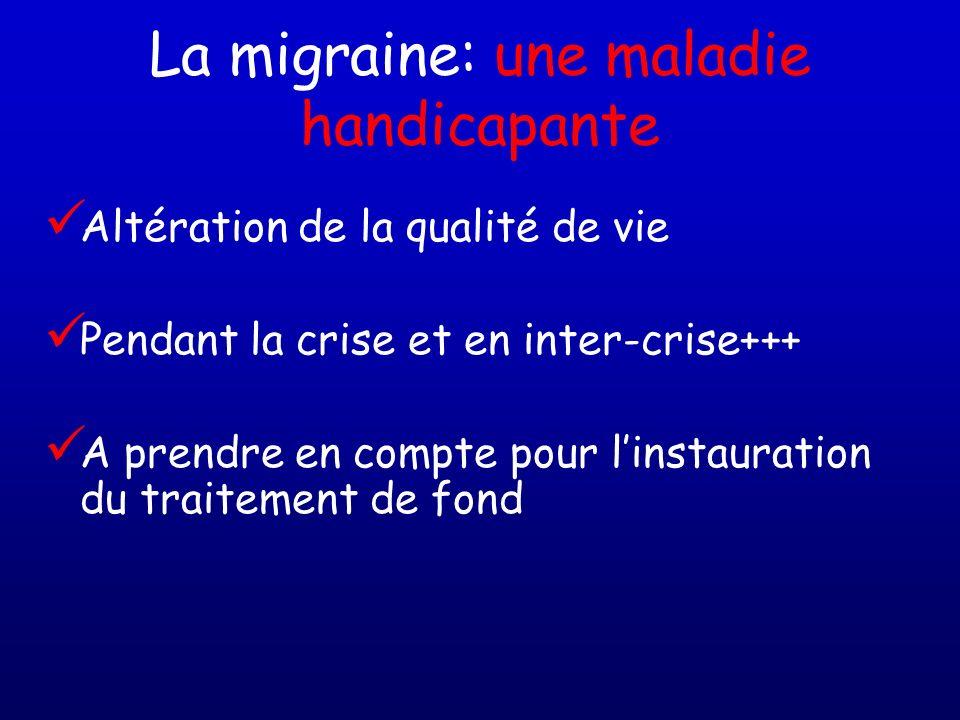 La migraine: une maladie handicapante Altération de la qualité de vie Pendant la crise et en inter-crise+++ A prendre en compte pour linstauration du