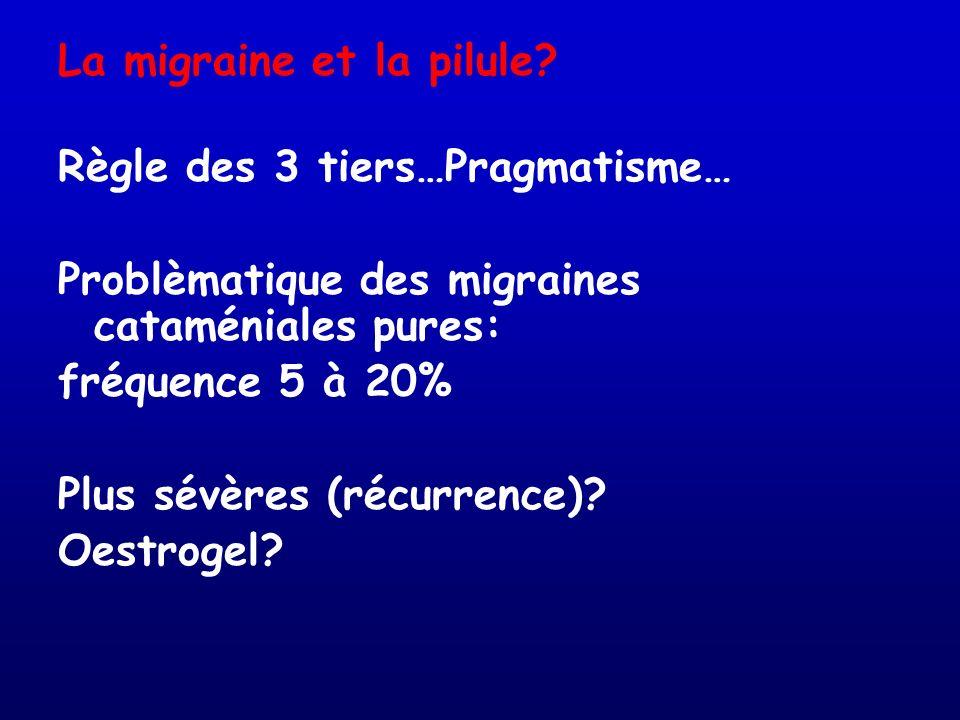 La migraine et la pilule? Règle des 3 tiers…Pragmatisme… Problèmatique des migraines cataméniales pures: fréquence 5 à 20% Plus sévères (récurrence)?