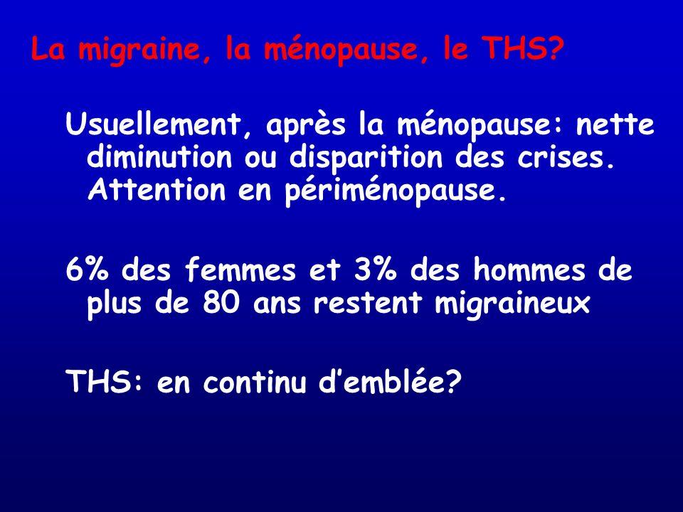 La migraine, la ménopause, le THS? Usuellement, après la ménopause: nette diminution ou disparition des crises. Attention en périménopause. 6% des fem