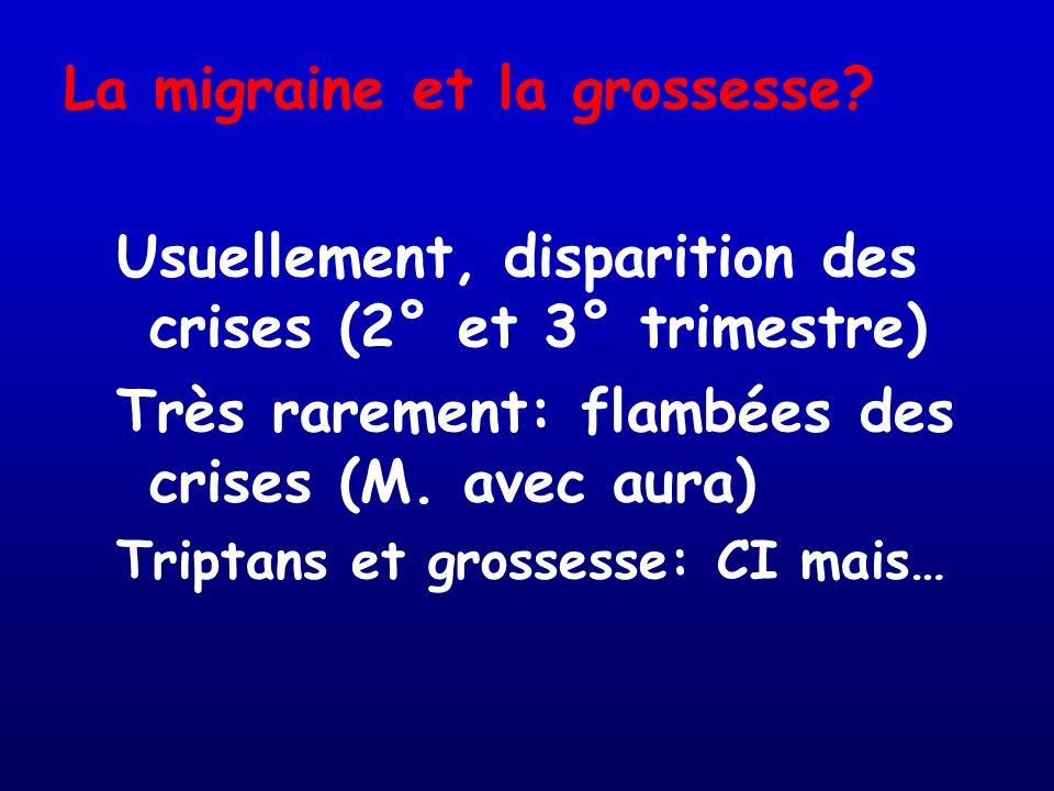 La migraine et la grossesse? Usuellement, disparition des crises (2° et 3° trimestre) Très rarement: flambées des crises (M. avec aura) Triptans et gr