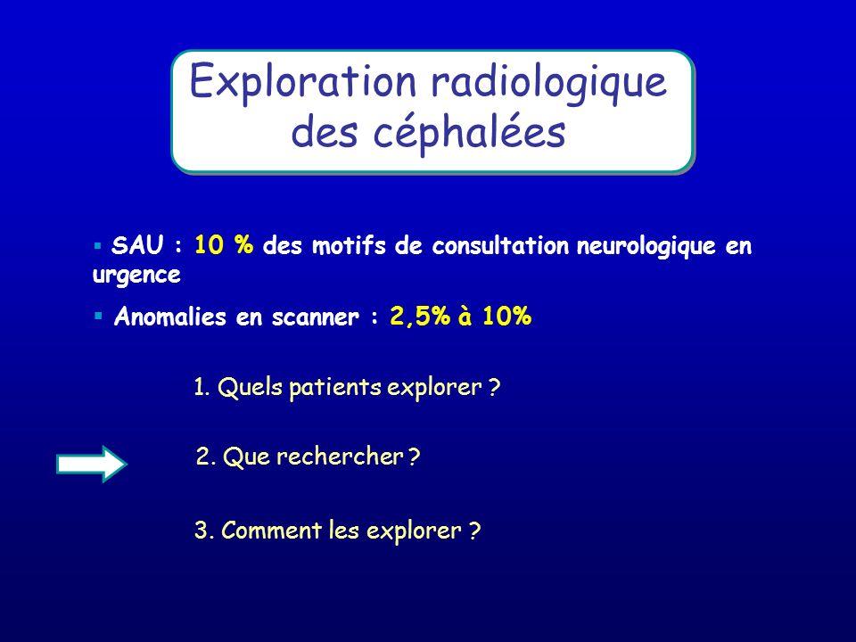 Exploration radiologique des céphalées SAU : 10 % des motifs de consultation neurologique en urgence Anomalies en scanner : 2,5% à 10% 3. Comment les