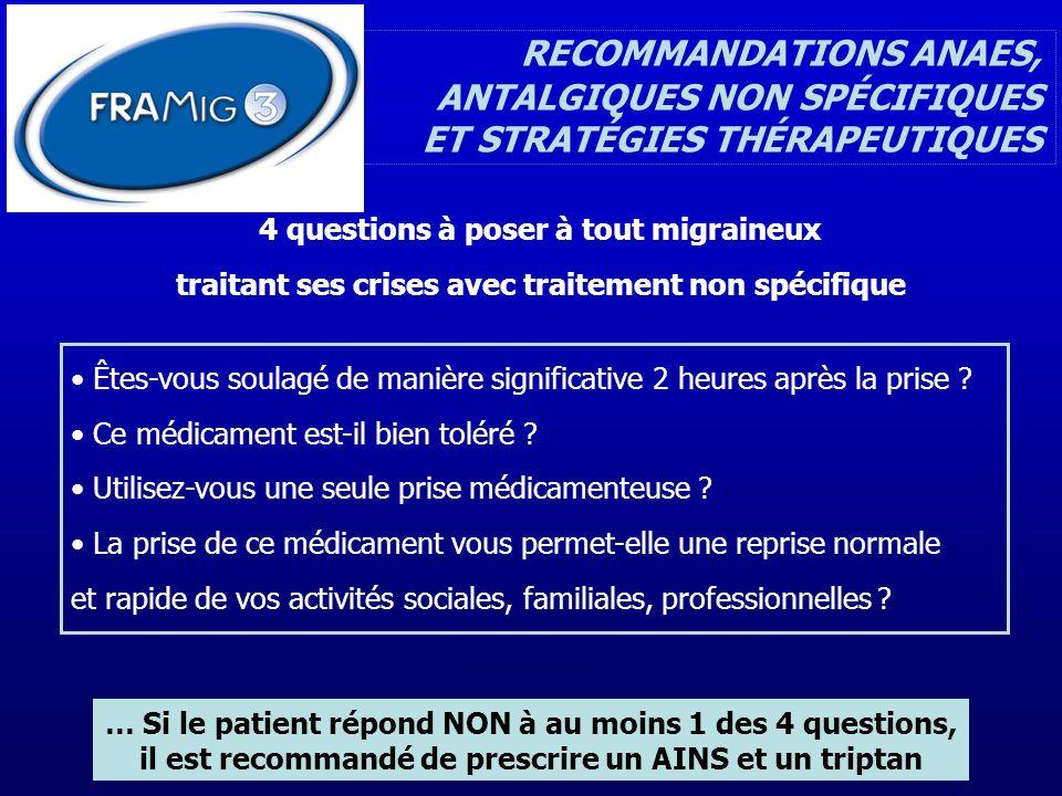 RECOMMANDATIONS ANAES, ANTALGIQUES NON SPÉCIFIQUES ET STRATÉGIES THÉRAPEUTIQUES … Si le patient répond NON à au moins 1 des 4 questions, il est recomm