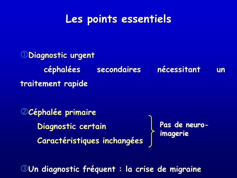 Diagnostic urgent céphalées secondaires nécessitant un traitement rapide Céphalée primaire Diagnostic certain Caractéristiques inchangées Un diagnosti