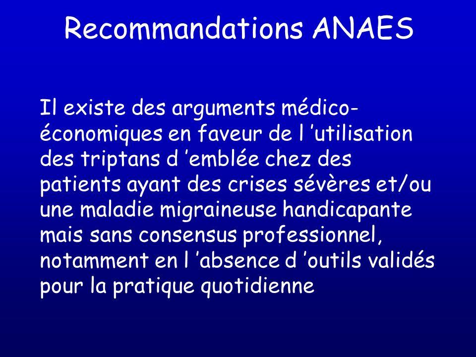 Recommandations ANAES Il existe des arguments médico- économiques en faveur de l utilisation des triptans d emblée chez des patients ayant des crises
