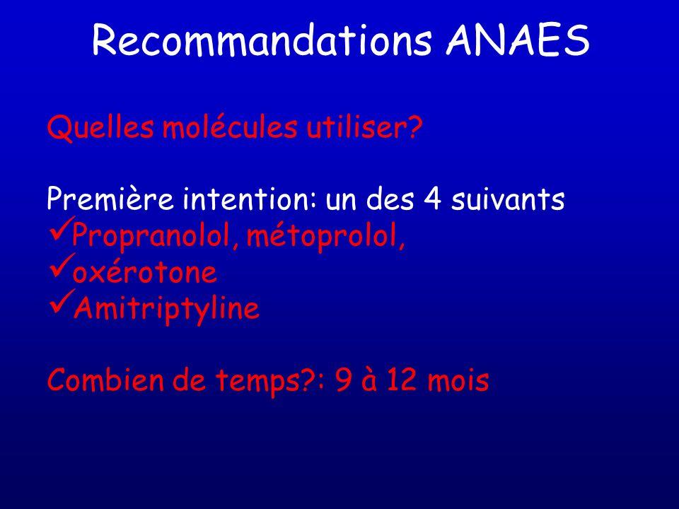Recommandations ANAES Quelles molécules utiliser? Première intention: un des 4 suivants Propranolol, métoprolol, oxérotone Amitriptyline Combien de te