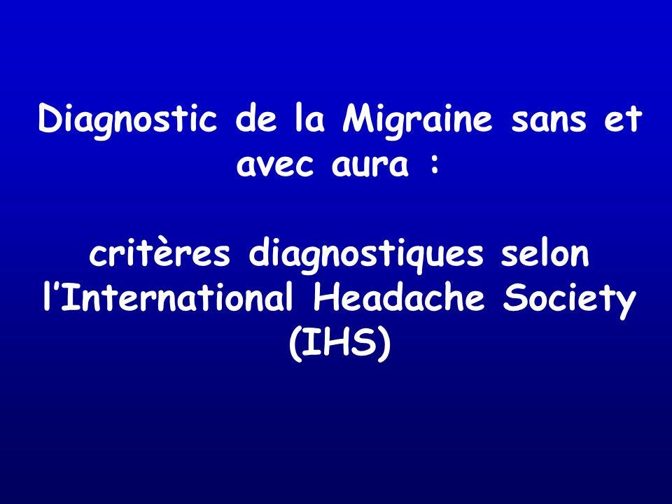 Diagnostic de la Migraine sans et avec aura : critères diagnostiques selon lInternational Headache Society (IHS)