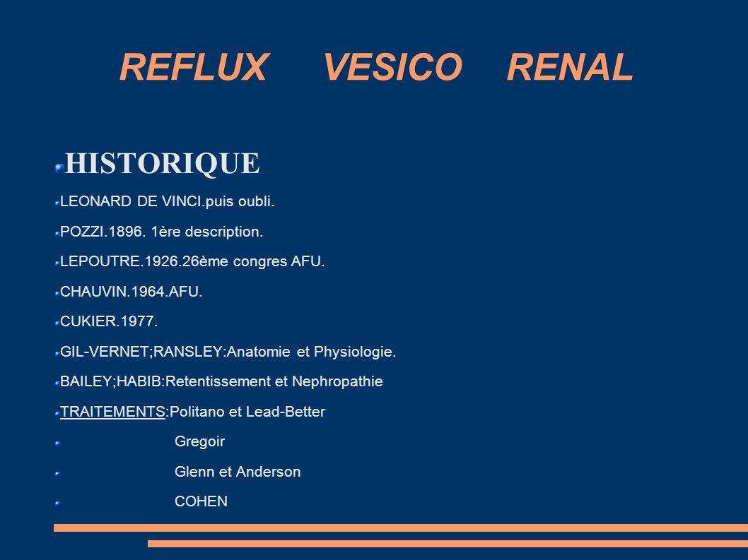 REFLUX VESICO RENAL HISTORIQUE LEONARD DE VINCI.puis oubli.