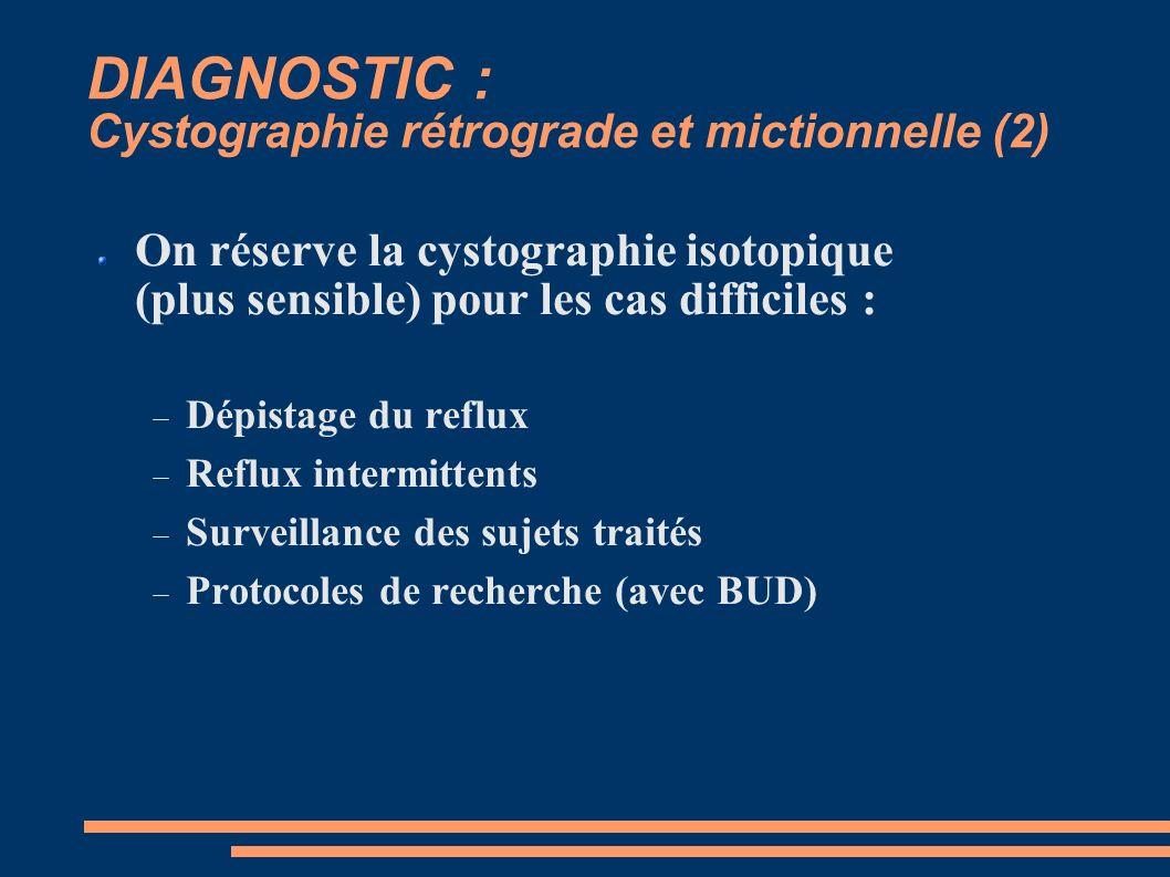 DIAGNOSTIC : Cystographie rétrograde et mictionnelle (2) On réserve la cystographie isotopique (plus sensible) pour les cas difficiles : Dépistage du reflux Reflux intermittents Surveillance des sujets traités Protocoles de recherche (avec BUD)