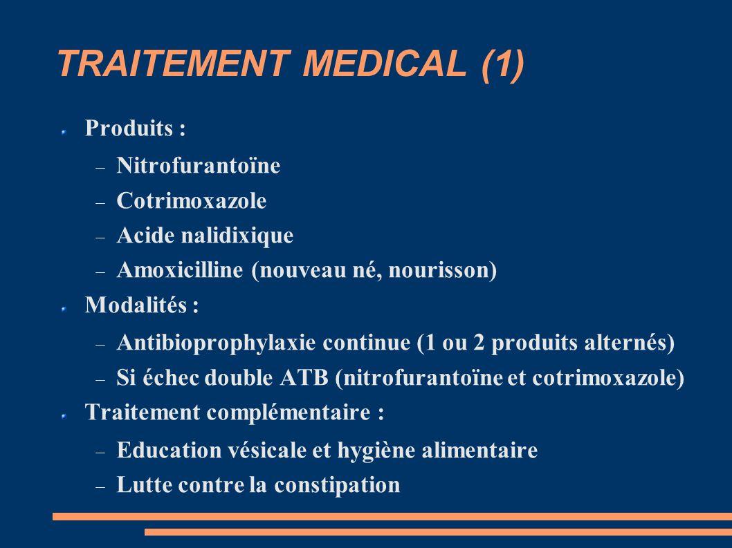 TRAITEMENT MEDICAL (1) Produits : Nitrofurantoïne Cotrimoxazole Acide nalidixique Amoxicilline (nouveau né, nourisson) Modalités : Antibioprophylaxie continue (1 ou 2 produits alternés) Si échec double ATB (nitrofurantoïne et cotrimoxazole) Traitement complémentaire : Education vésicale et hygiène alimentaire Lutte contre la constipation