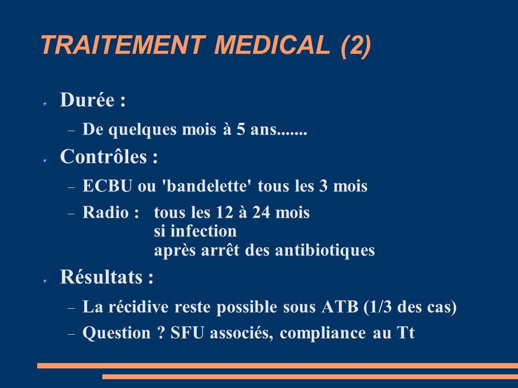 TRAITEMENT MEDICAL (2) Durée : De quelques mois à 5 ans.......