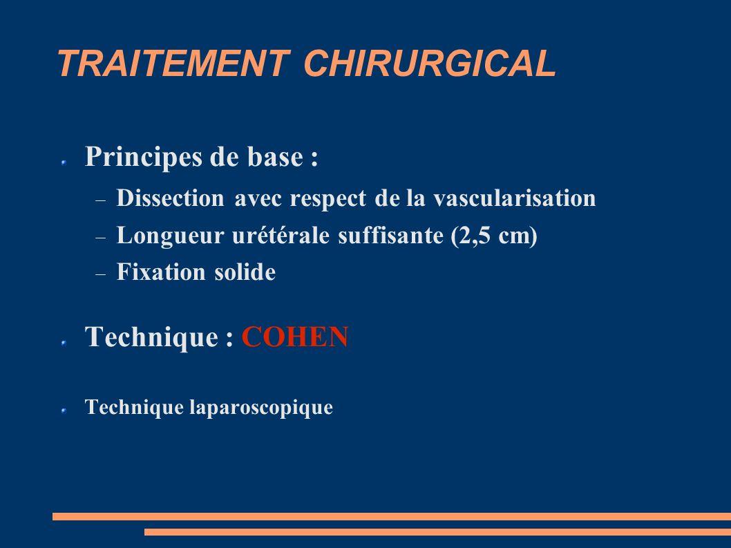 TRAITEMENT CHIRURGICAL Principes de base : Dissection avec respect de la vascularisation Longueur urétérale suffisante (2,5 cm) Fixation solide Technique : COHEN Technique laparoscopique