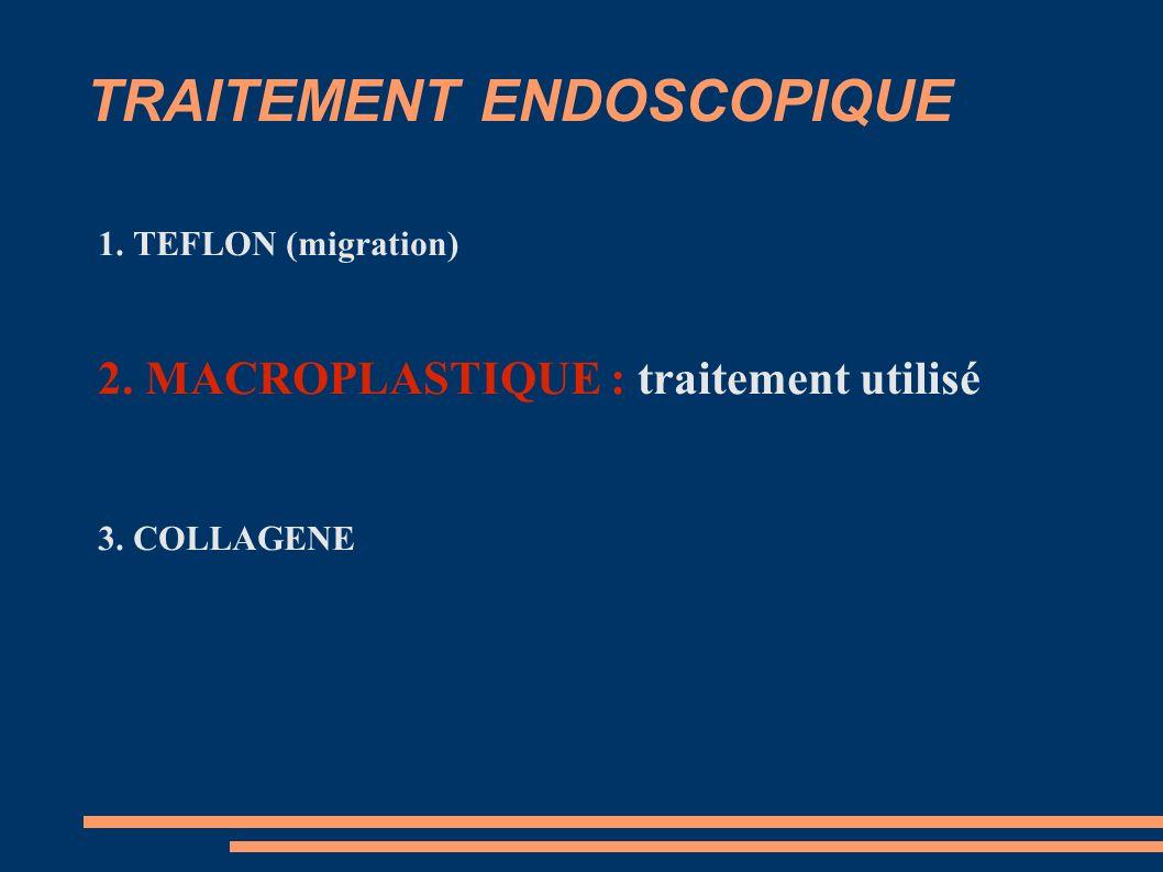 TRAITEMENT ENDOSCOPIQUE 1. TEFLON (migration) 2. MACROPLASTIQUE : traitement utilisé 3. COLLAGENE