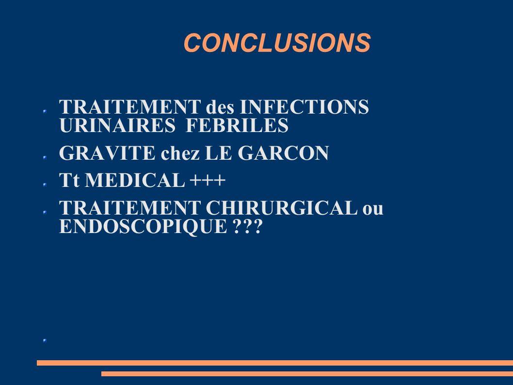 CONCLUSIONS TRAITEMENT des INFECTIONS URINAIRES FEBRILES GRAVITE chez LE GARCON Tt MEDICAL +++ TRAITEMENT CHIRURGICAL ou ENDOSCOPIQUE ???