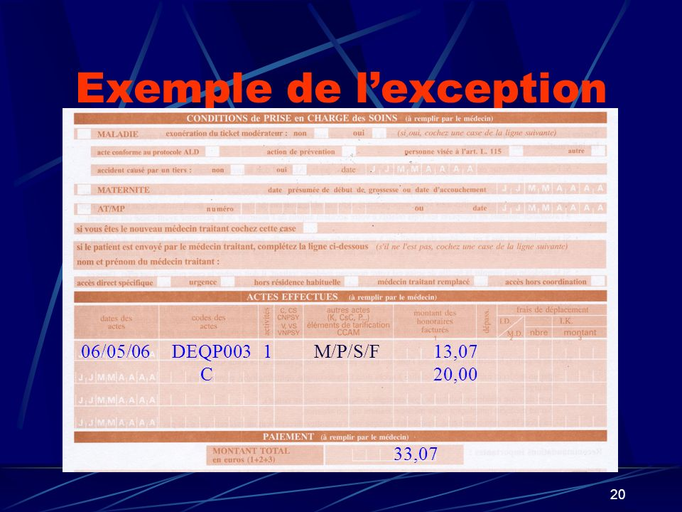 20 Exemple de lexception DEQP0031M/P/S/F13,0706/05/06 33,07 C20,00
