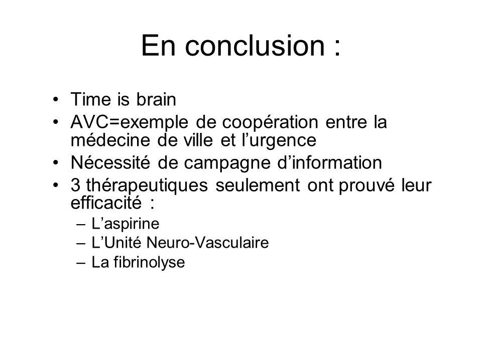 En conclusion : Time is brain AVC=exemple de coopération entre la médecine de ville et lurgence Nécessité de campagne dinformation 3 thérapeutiques se