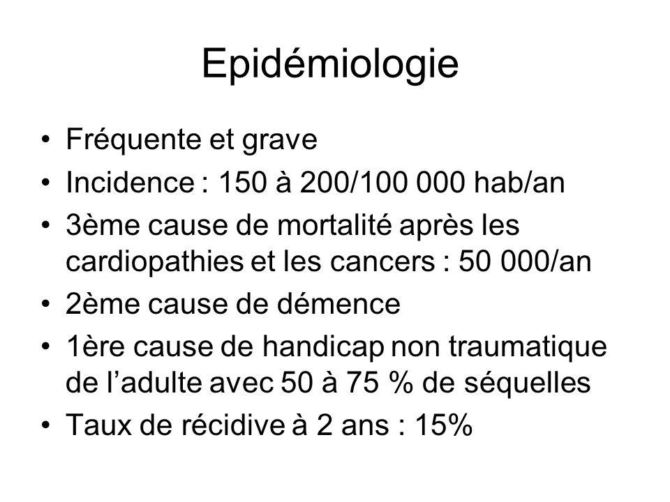 Epidémiologie Fréquente et grave Incidence : 150 à 200/100 000 hab/an 3ème cause de mortalité après les cardiopathies et les cancers : 50 000/an 2ème