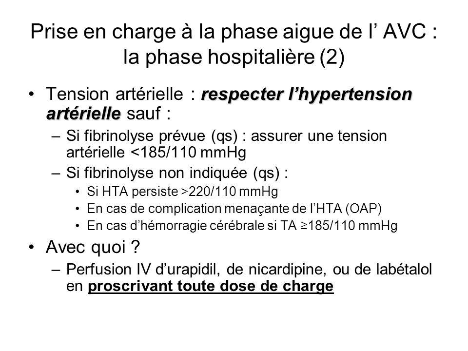 Prise en charge à la phase aigue de l AVC : la phase hospitalière (2) respecter lhypertension artérielleTension artérielle : respecter lhypertension a