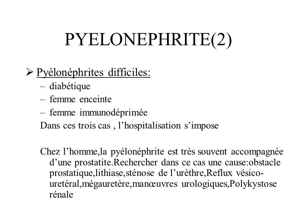 PYELONEPHRITE(2) Pyélonéphrites difficiles: –diabétique –femme enceinte –femme immunodéprimée Dans ces trois cas, lhospitalisation simpose Chez lhomme