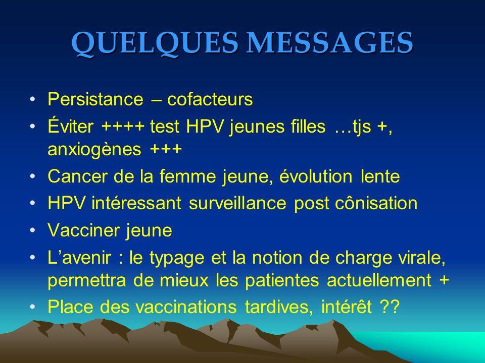 QUELQUES MESSAGES Persistance – cofacteurs Éviter ++++ test HPV jeunes filles …tjs +, anxiogènes +++ Cancer de la femme jeune, évolution lente HPV int