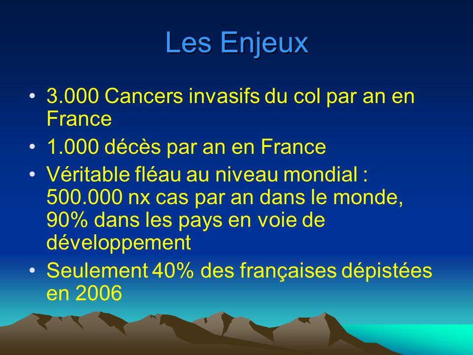Les Enjeux 3.000 Cancers invasifs du col par an en France 1.000 décès par an en France Véritable fléau au niveau mondial : 500.000 nx cas par an dans le monde, 90% dans les pays en voie de développement Seulement 40% des françaises dépistées en 2006