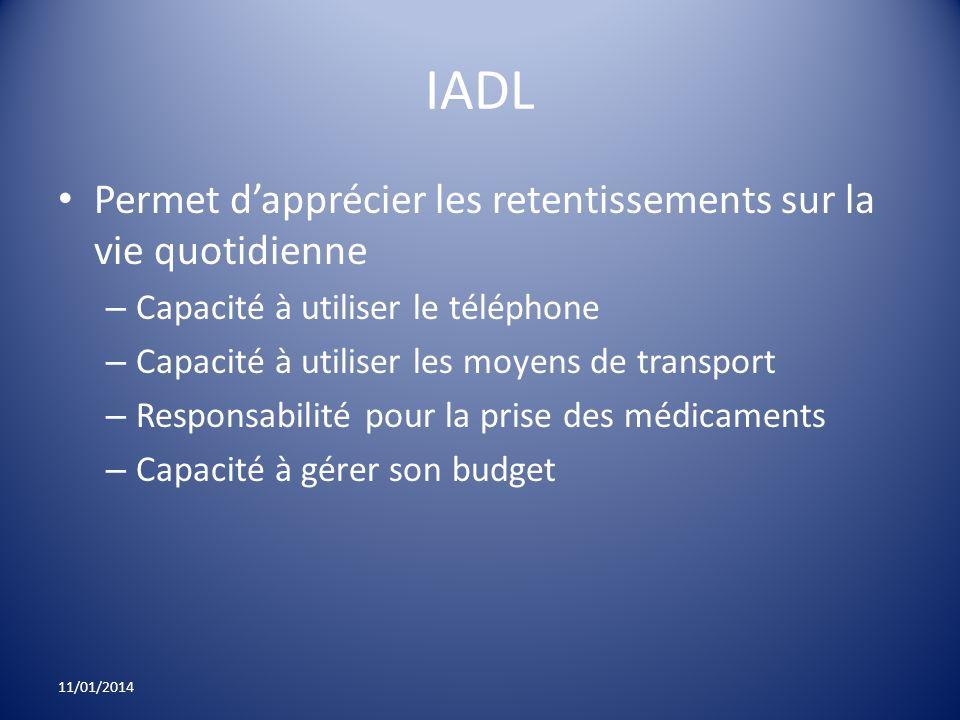 IADL Permet dapprécier les retentissements sur la vie quotidienne – Capacité à utiliser le téléphone – Capacité à utiliser les moyens de transport – R