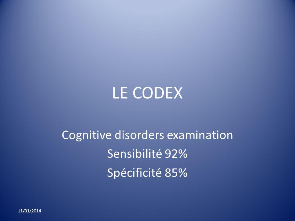 LE CODEX Cognitive disorders examination Sensibilité 92% Spécificité 85% 11/01/2014