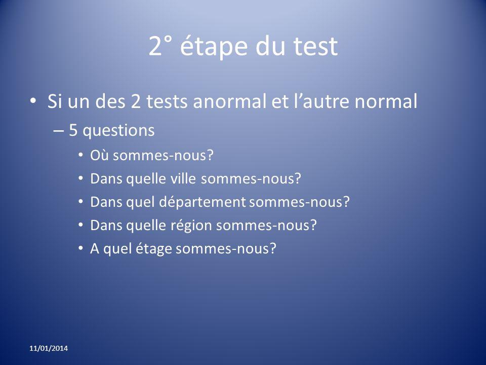 2° étape du test Si un des 2 tests anormal et lautre normal – 5 questions Où sommes-nous? Dans quelle ville sommes-nous? Dans quel département sommes-