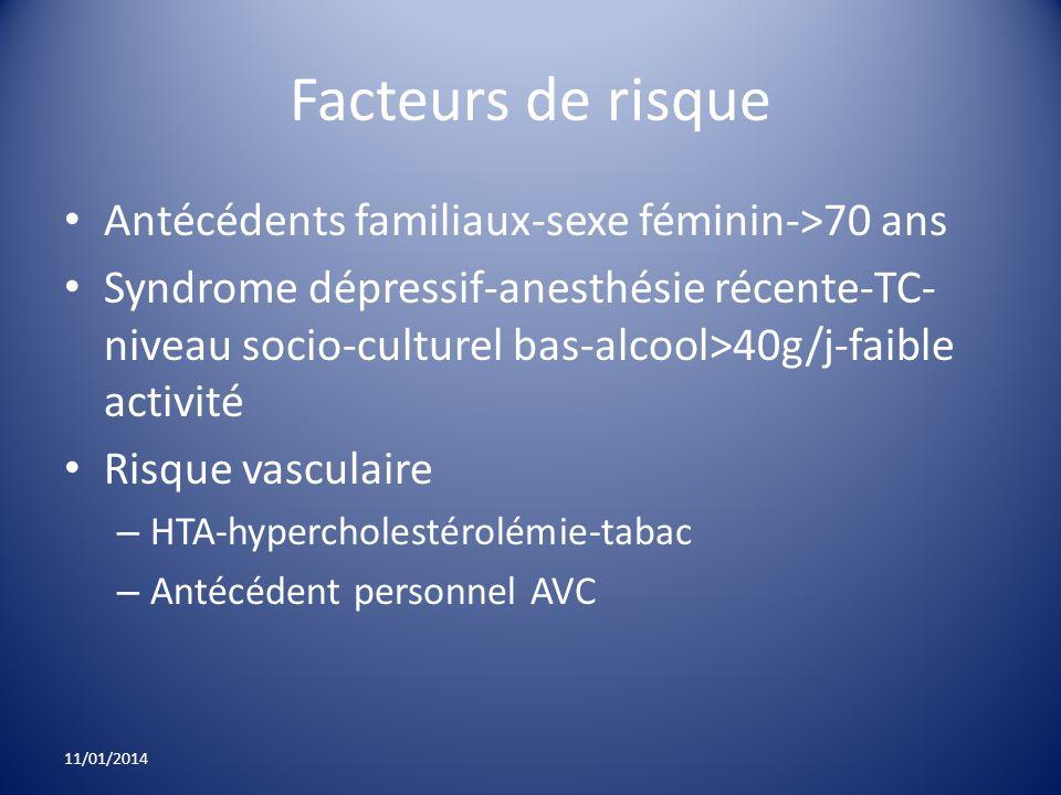 Facteurs de risque Antécédents familiaux-sexe féminin->70 ans Syndrome dépressif-anesthésie récente-TC- niveau socio-culturel bas-alcool>40g/j-faible