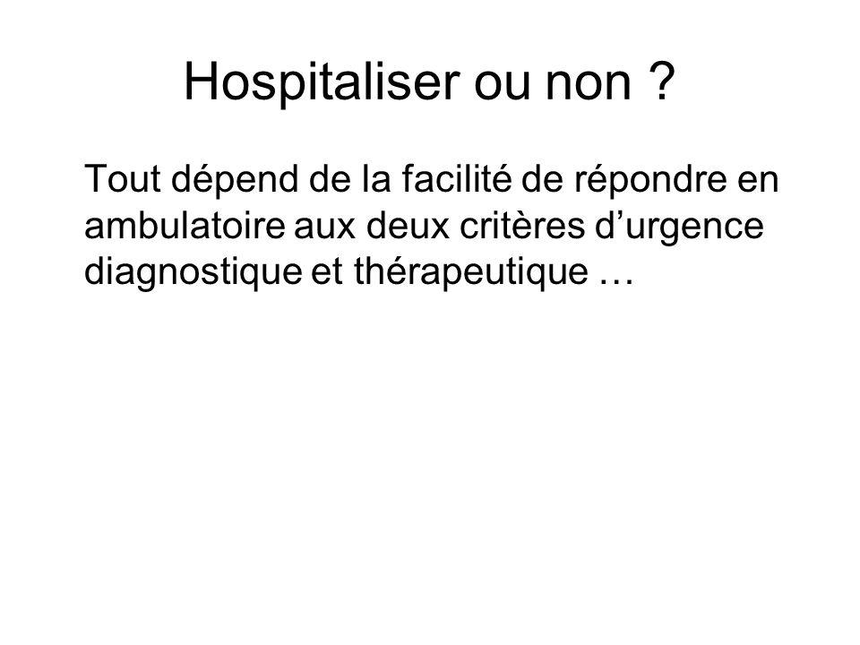 Hospitaliser ou non .