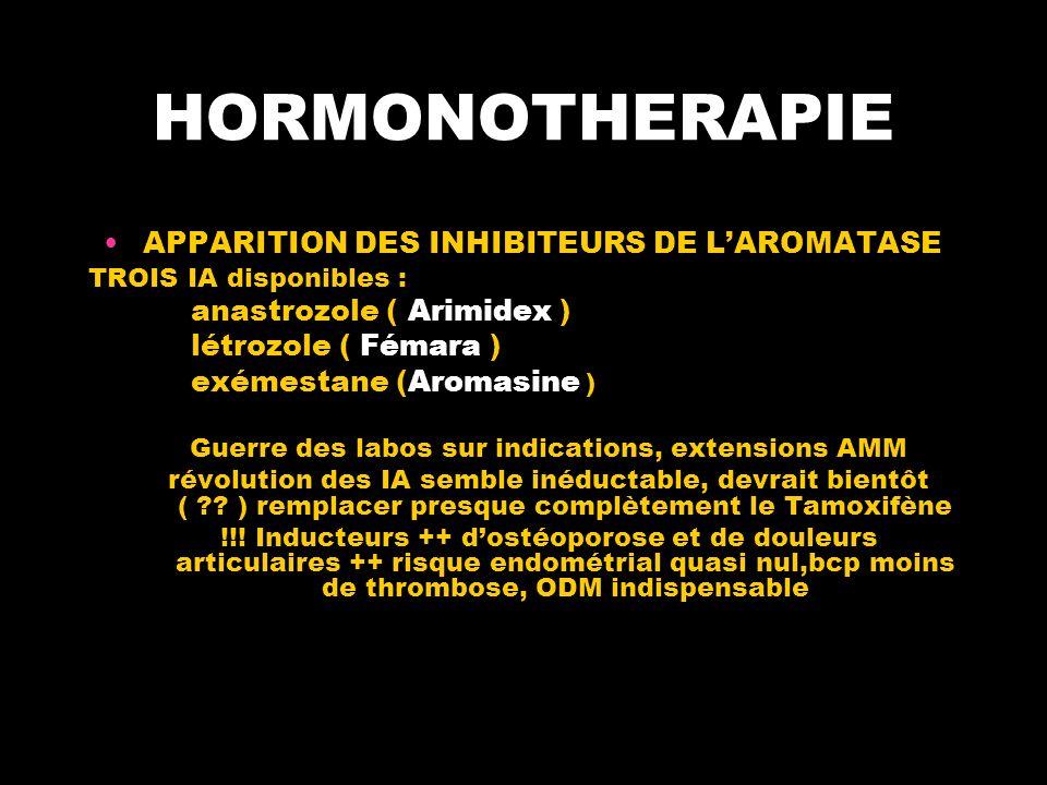 HORMONOTHERAPIE APPARITION DES INHIBITEURS DE LAROMATASE TROIS IA disponibles : anastrozole ( Arimidex ) létrozole ( Fémara ) exémestane (Aromasine ) Guerre des labos sur indications, extensions AMM révolution des IA semble inéductable, devrait bientôt ( .
