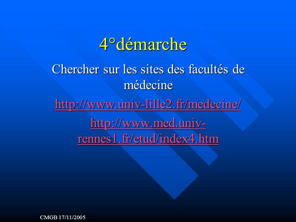 4°démarche Chercher sur les sites des facultés de médecine http://www.univ-lille2.fr/medecine/ http://www.med.univ- rennes1.fr/etud/index4.htm http://www.med.univ- rennes1.fr/etud/index4.htm CMGB 17/11/2005