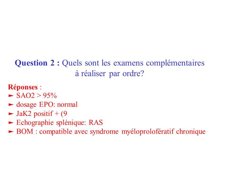 Question 2 : Quels sont les examens complémentaires à réaliser par ordre? Réponses : SAO2 > 95% dosage EPO: normal JaK2 positif + (9 Echographie splén