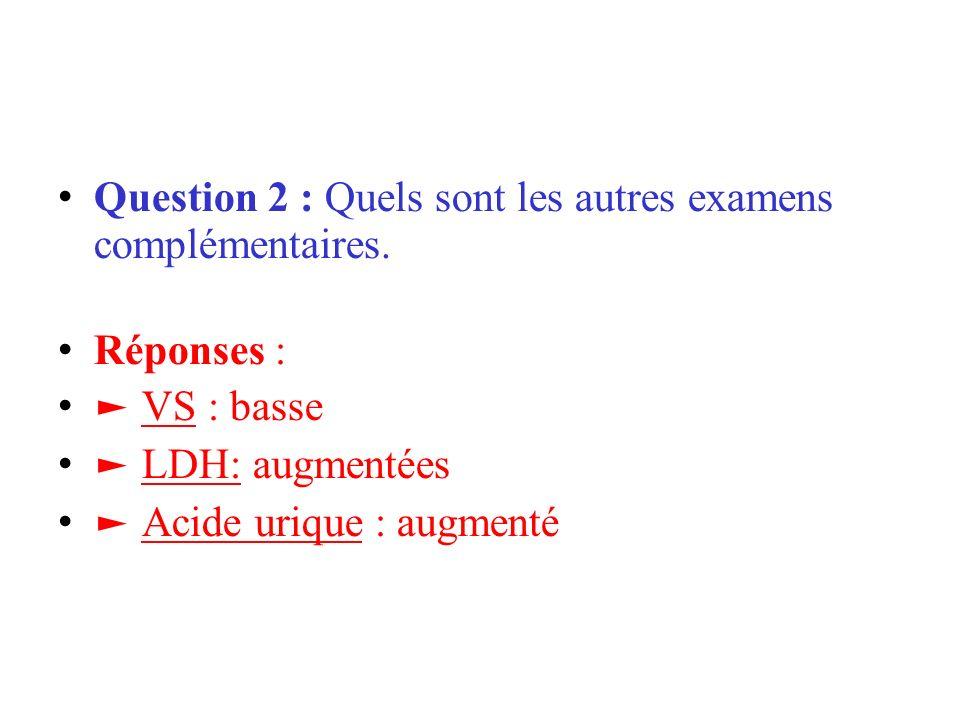 Question 2 : Quels sont les autres examens complémentaires. Réponses : VS : basse LDH: augmentées Acide urique : augmenté