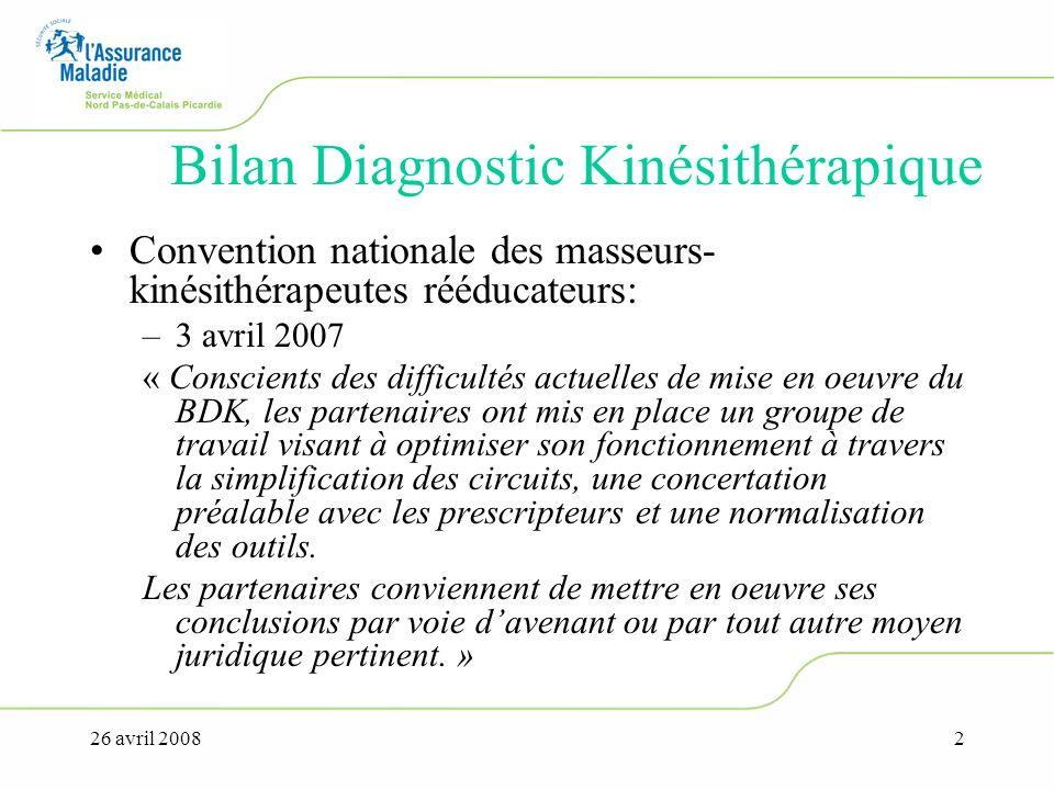 26 avril 20082 Bilan Diagnostic Kinésithérapique Convention nationale des masseurs- kinésithérapeutes rééducateurs: –3 avril 2007 « Conscients des dif