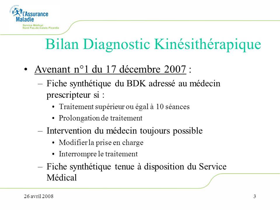 26 avril 20084 Bilan Diagnostic Kinésithérapique Modalités de rémunération du Bilan-diagnostic kinésithérapique –Bilan-diagnostic kinésithérapique pour un nombre de séances compris entre 10 et 20, puis de nouveau toutes les 20 séances pour traitement de rééducation et de réadaptation fonctionnelle figurant au chapitre II ou III, sauf exception ci-dessous : 8,1 AMS, AMK ou AMC –Bilan-diagnostic kinésithérapique pour un nombre de séances compris entre 10 et 50, puis de nouveau toutes les 50 séances pour traitement de rééducation des conséquences des affections neurologiques et musculaires, en dehors des atteintes périphériques radiculaires ou tronculaires: 10,1 AMK ou AMC