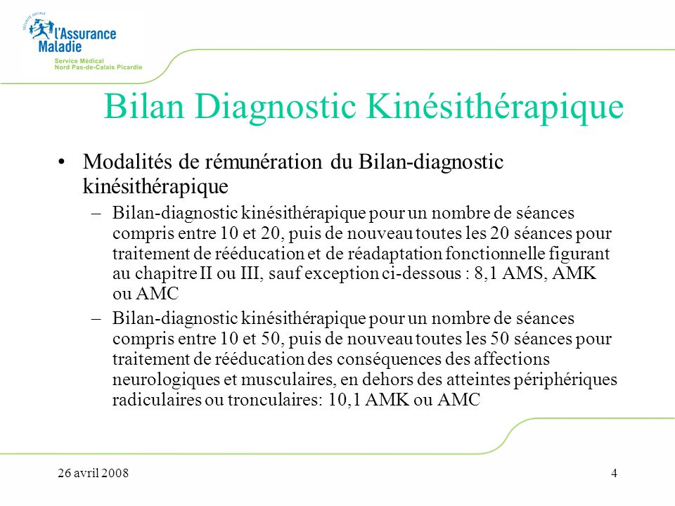 26 avril 20084 Bilan Diagnostic Kinésithérapique Modalités de rémunération du Bilan-diagnostic kinésithérapique –Bilan-diagnostic kinésithérapique pou