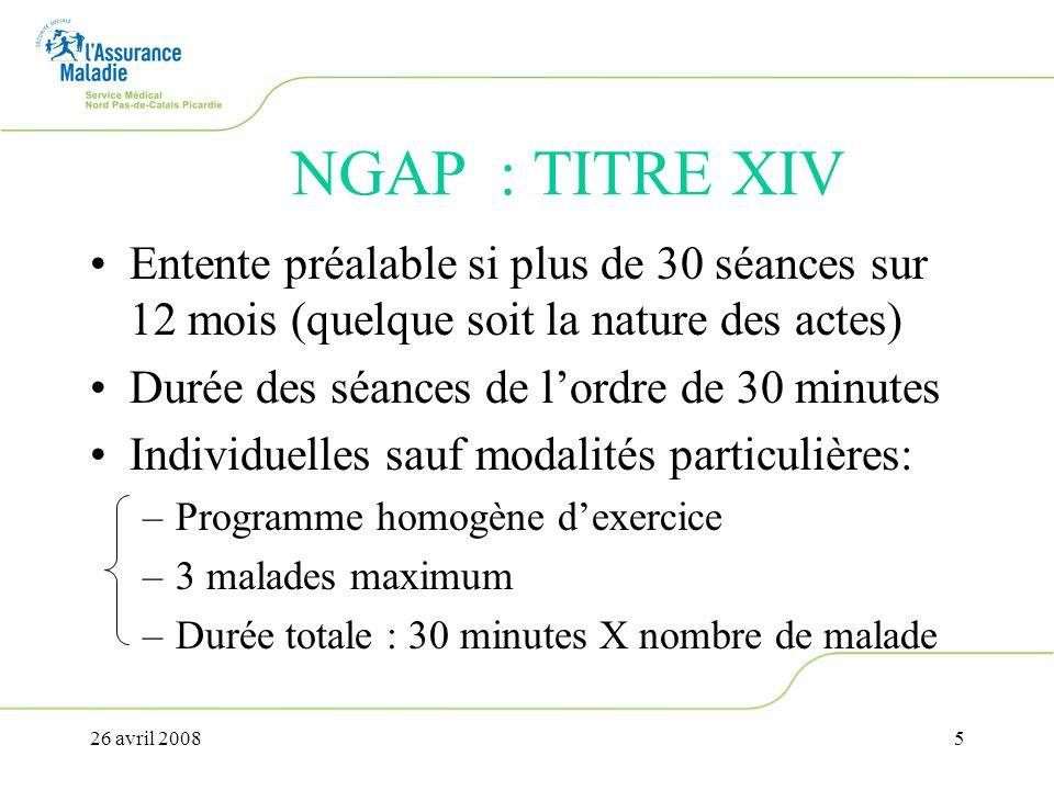 26 avril 20085 NGAP : TITRE XIV Entente préalable si plus de 30 séances sur 12 mois (quelque soit la nature des actes) Durée des séances de lordre de