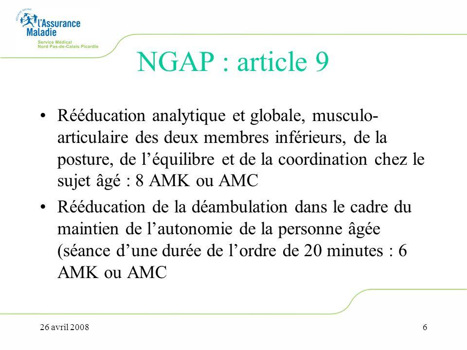 26 avril 20086 NGAP : article 9 Rééducation analytique et globale, musculo- articulaire des deux membres inférieurs, de la posture, de léquilibre et d