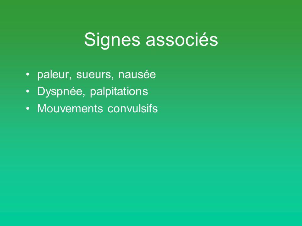 Signes associés paleur, sueurs, nausée Dyspnée, palpitations Mouvements convulsifs