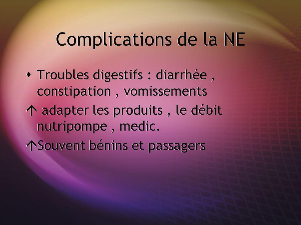 Complications de la NE Troubles digestifs : diarrhée, constipation, vomissements adapter les produits, le débit nutripompe, medic. Souvent bénins et p