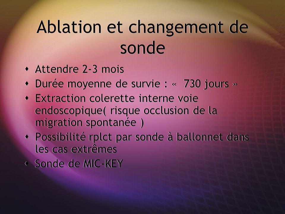Ablation et changement de sonde Attendre 2-3 mois Durée moyenne de survie : « 730 jours » Extraction colerette interne voie endoscopique( risque occlu