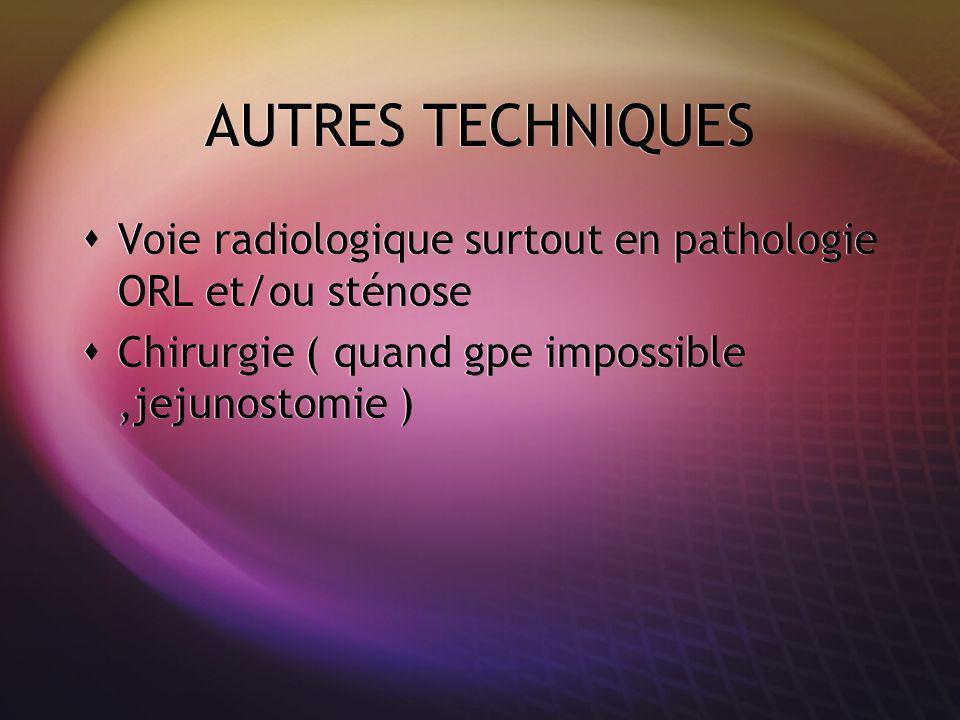 AUTRES TECHNIQUES Voie radiologique surtout en pathologie ORL et/ou sténose Chirurgie ( quand gpe impossible,jejunostomie ) Voie radiologique surtout en pathologie ORL et/ou sténose Chirurgie ( quand gpe impossible,jejunostomie )