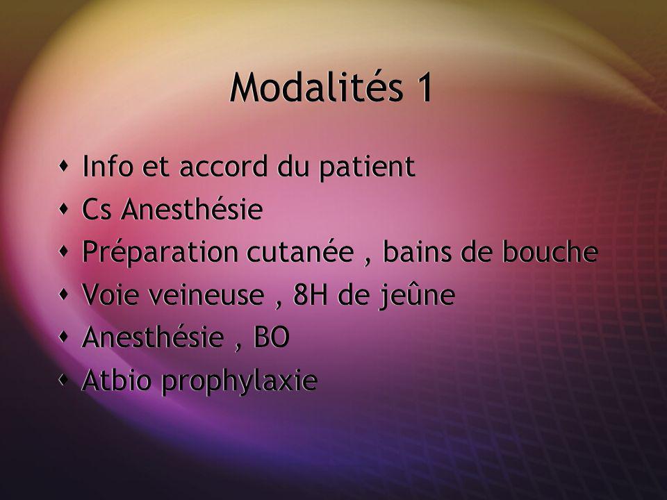 Modalités 1 Info et accord du patient Cs Anesthésie Préparation cutanée, bains de bouche Voie veineuse, 8H de jeûne Anesthésie, BO Atbio prophylaxie I