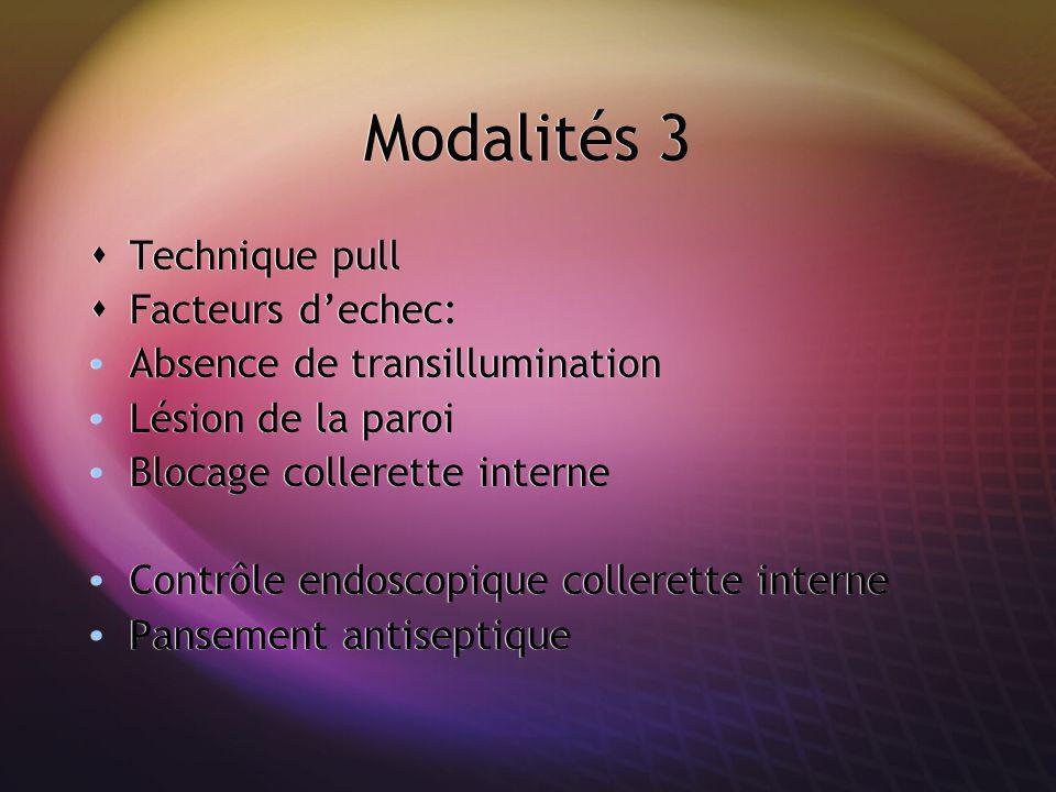 Modalités 3 Technique pull Facteurs dechec: Absence de transillumination Lésion de la paroi Blocage collerette interne Contrôle endoscopique collerett