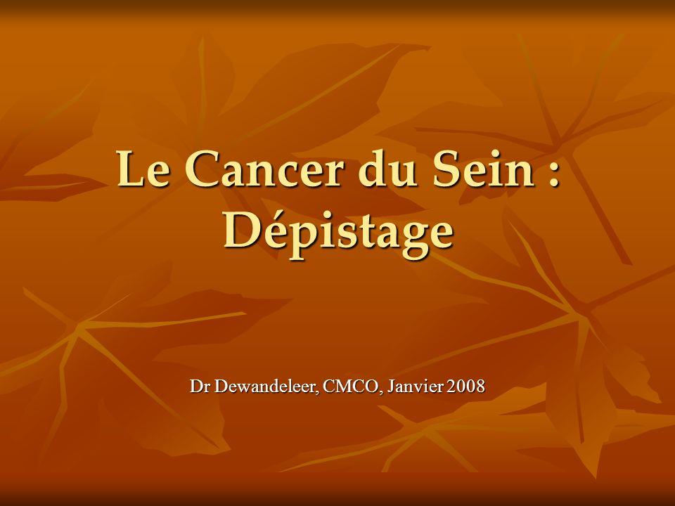 Le Cancer du Sein : Dépistage Dr Dewandeleer, CMCO, Janvier 2008