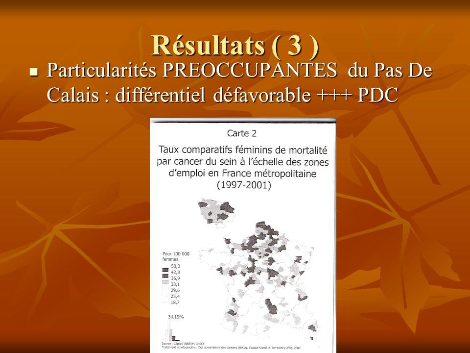 Résultats ( 3 ) Particularités PREOCCUPANTES du Pas De Calais : différentiel défavorable +++ PDC Particularités PREOCCUPANTES du Pas De Calais : diffé